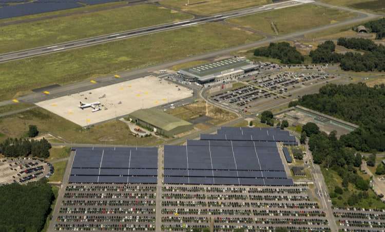 PV solar panel installation at an airport