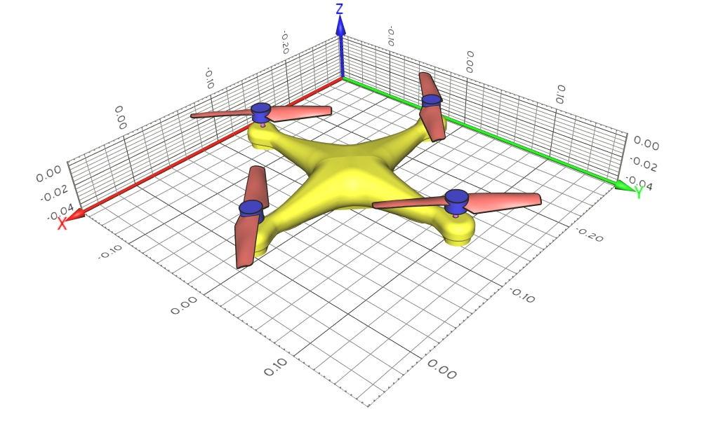 Quadcopter drone geometry -  CAD files are provided by Mr. Pascual and Dr. Weerasinghe, University of the West of England