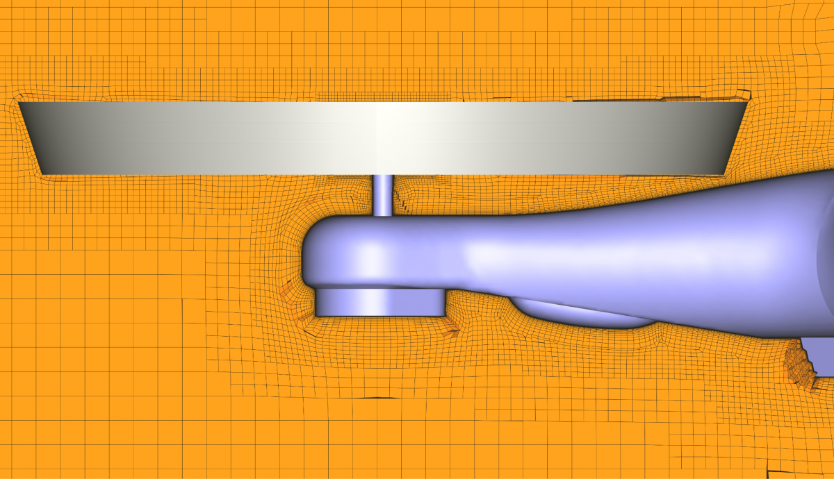 Rotating block (in grey) and volume mesh around the quadcopter drone airframe