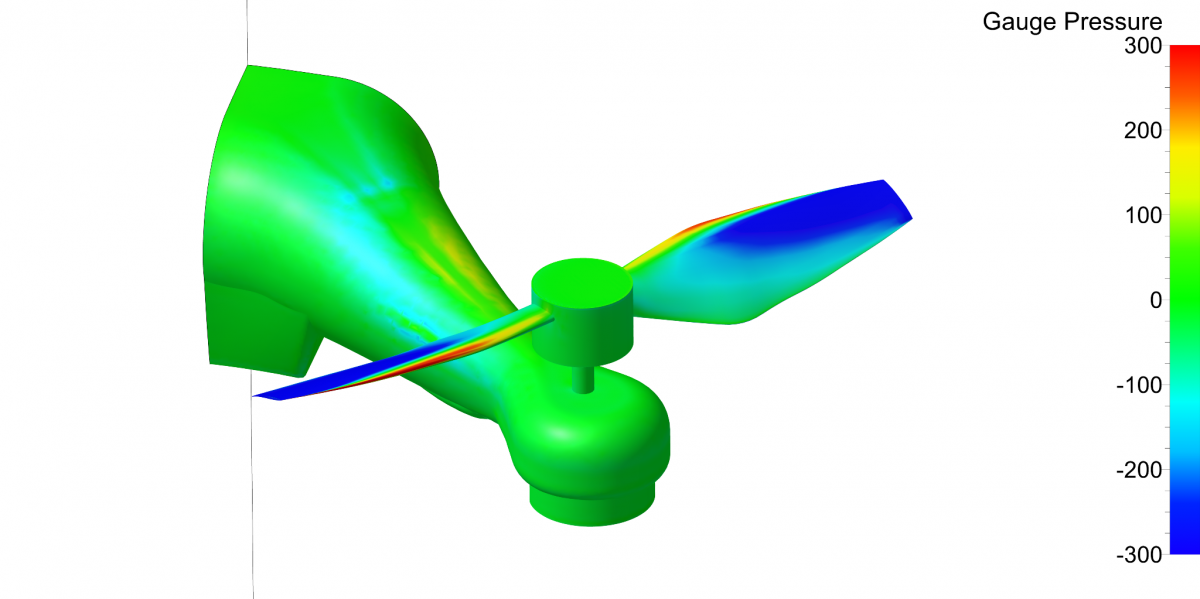 Steady threshold contour of gauge pressure field on drone propeller and airframe