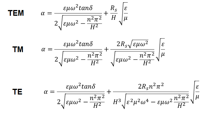 Attenuation in a parallel plate waveguide equation