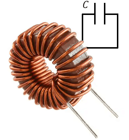 Stray capacitance inductor coil