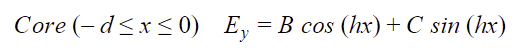 Core (-dx0) Ey=B cos (hx)+C sin (hx)