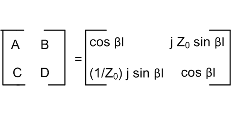 V1=V2Cos βl+jI2 Z0Sin βl   I1=(1/ Z0) jV2Sin βl+I2 Cos βl