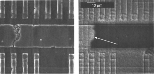 Electromigration causing an interconnect failure