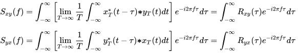 Cross spectral density equation