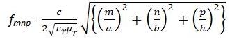Rectangular cavity resonant frequency