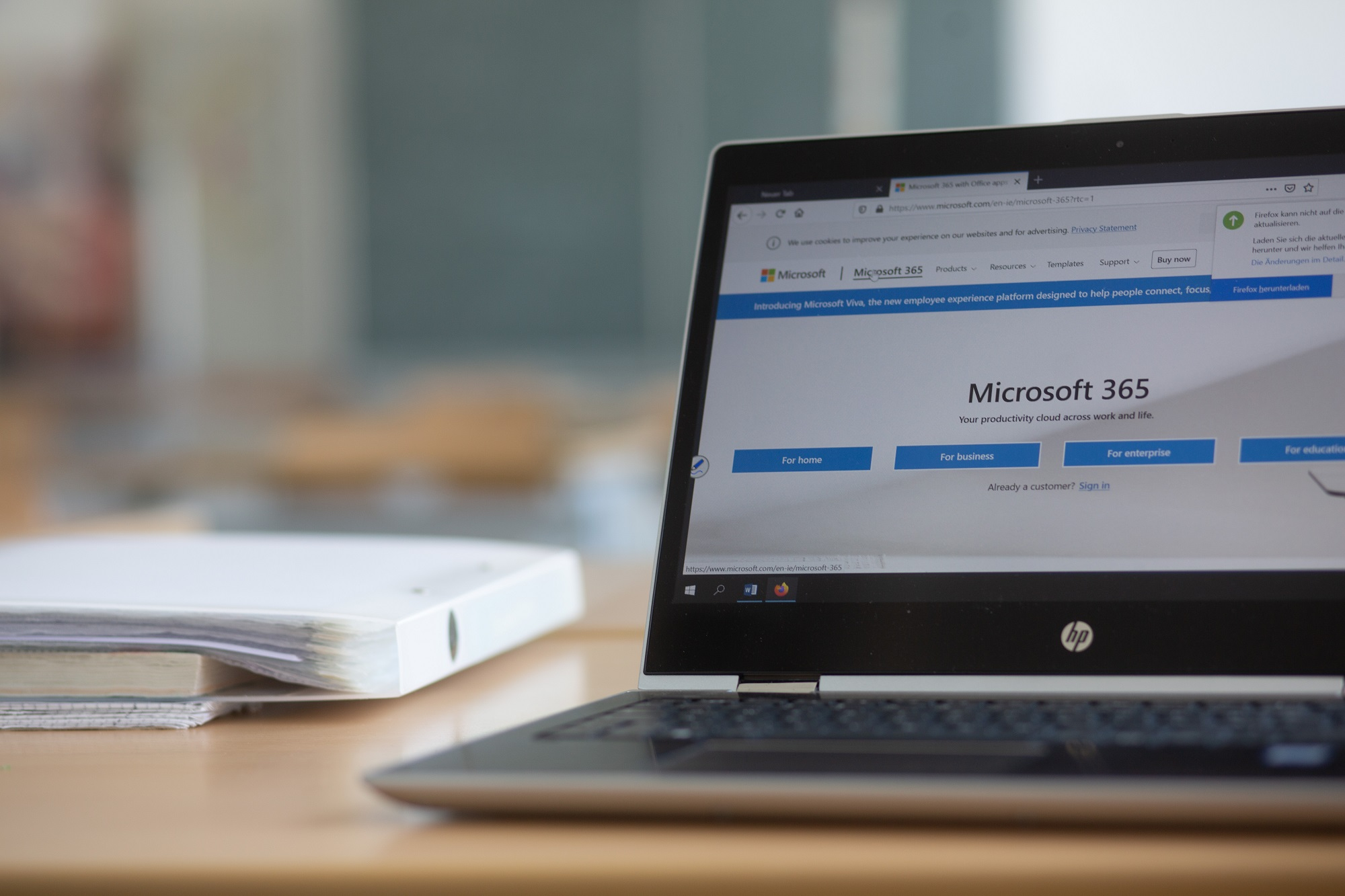 A computer with Microsoft 365 pulled up on a web browser.
