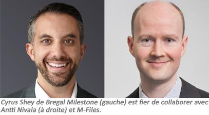 Cyrus Shey de Bregal Milestone (gauche) est fier de  collaborer avec Antti Nivala (à droite) et M-Files.