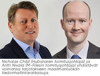 Nicholas Child (Hubsharen toimitusjohtaja) ja Antti Nivala (M-Filesin toimitusjohtaja) yhdistävät voimansa tarjotakseen maailmanluokan tiedonhallintaratkaisuja.
