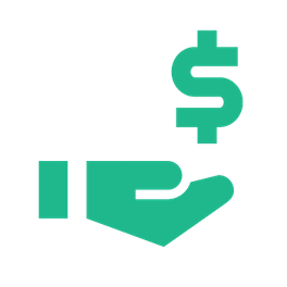 Hand with palm up receiving dollar sign icon