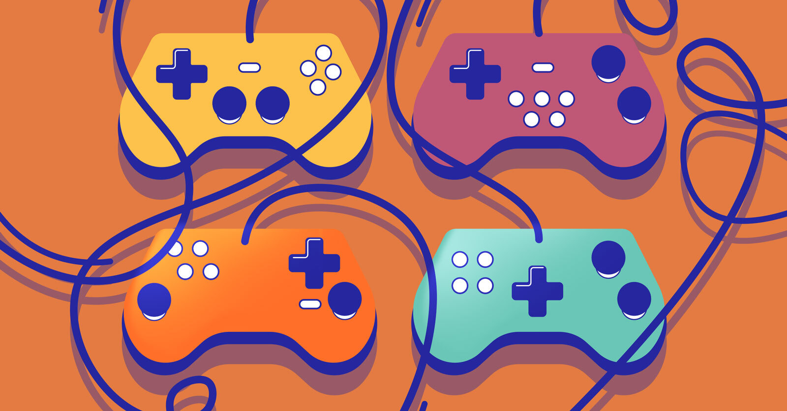 four gamepads in different colors against a bright background