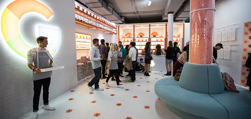 A Google pop-up — an example of an experiential marketing campaign that can improve brand positioning strategy