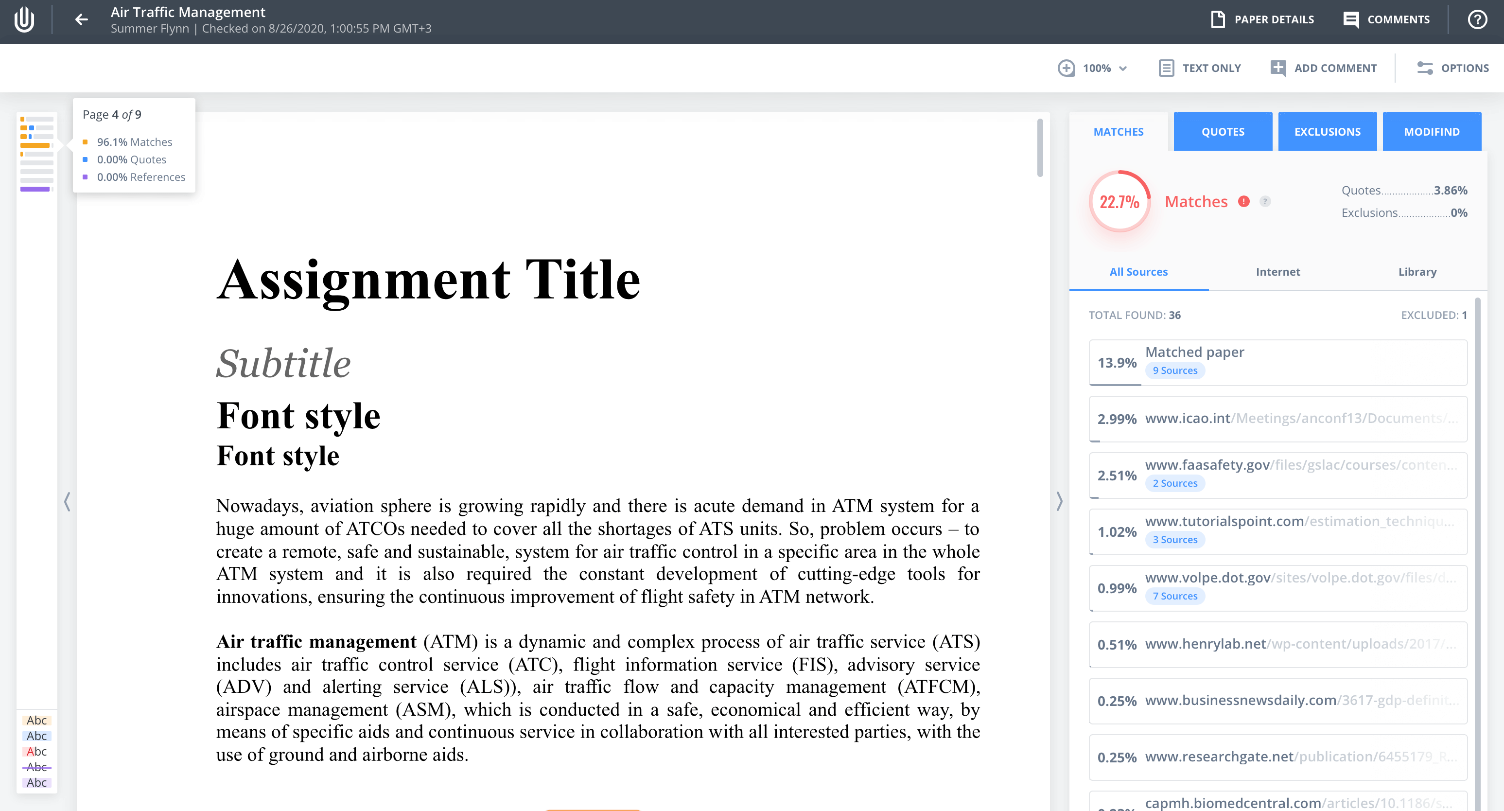 Color-coded minimap for easy navigation across the document