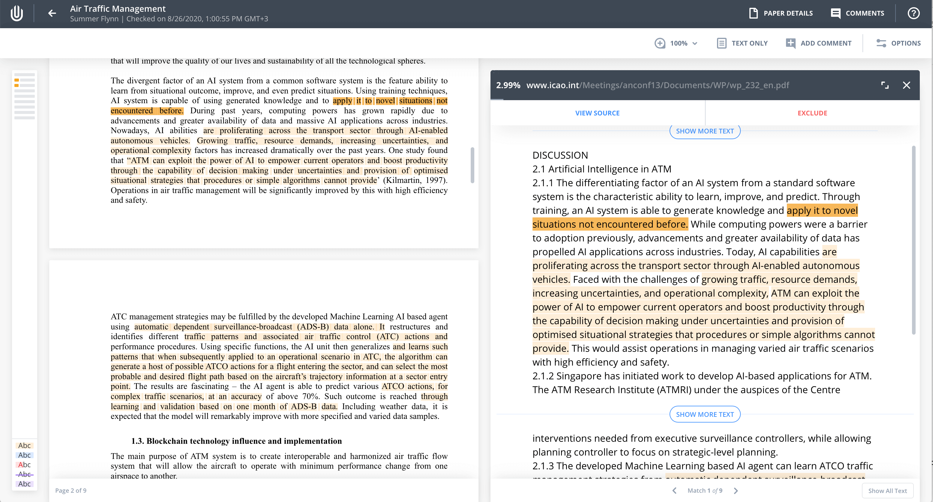 Side-by-side comparison mode in the Unicheck report