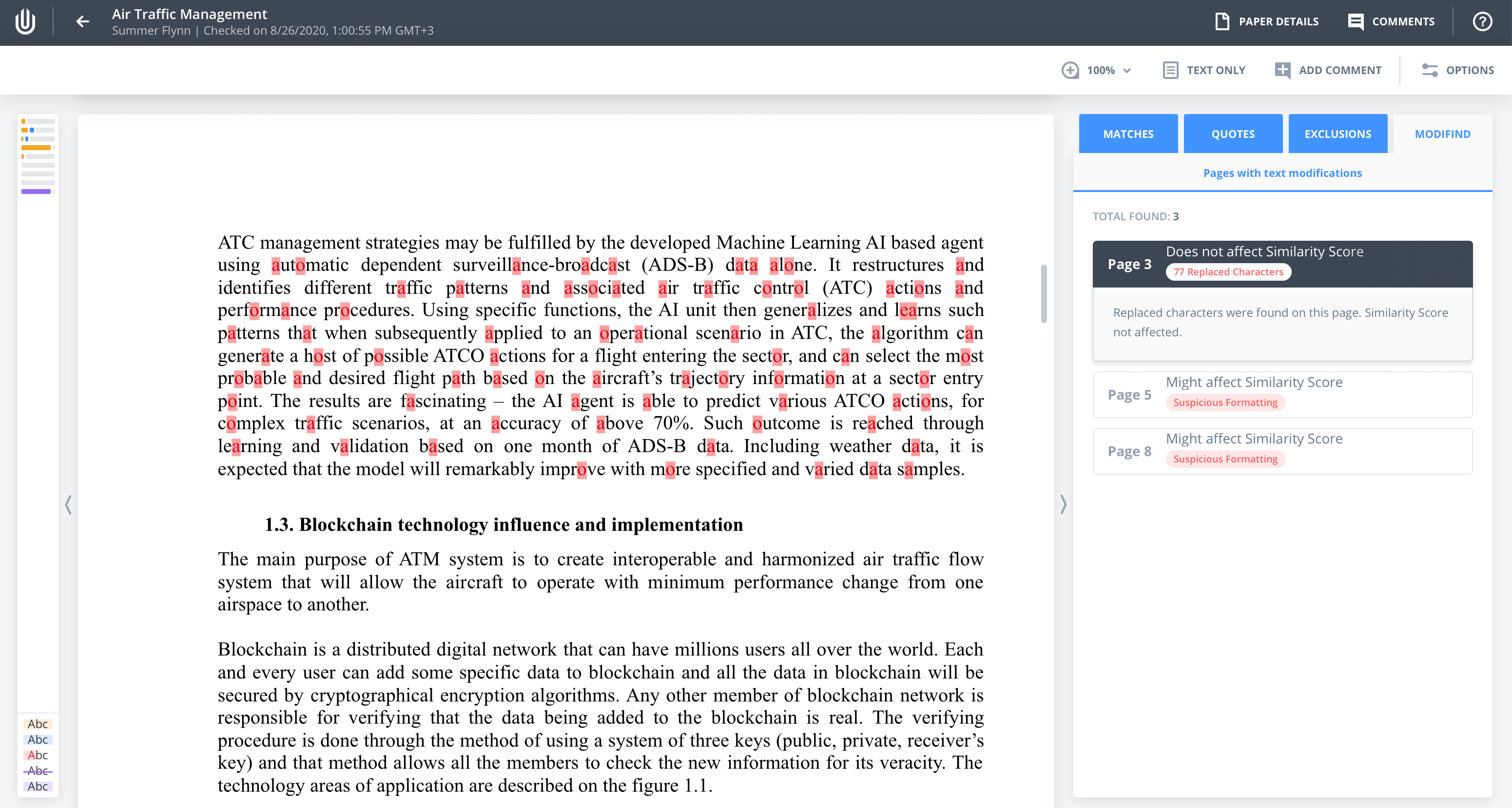 The Modified tab contains all detected cases of text manipulation