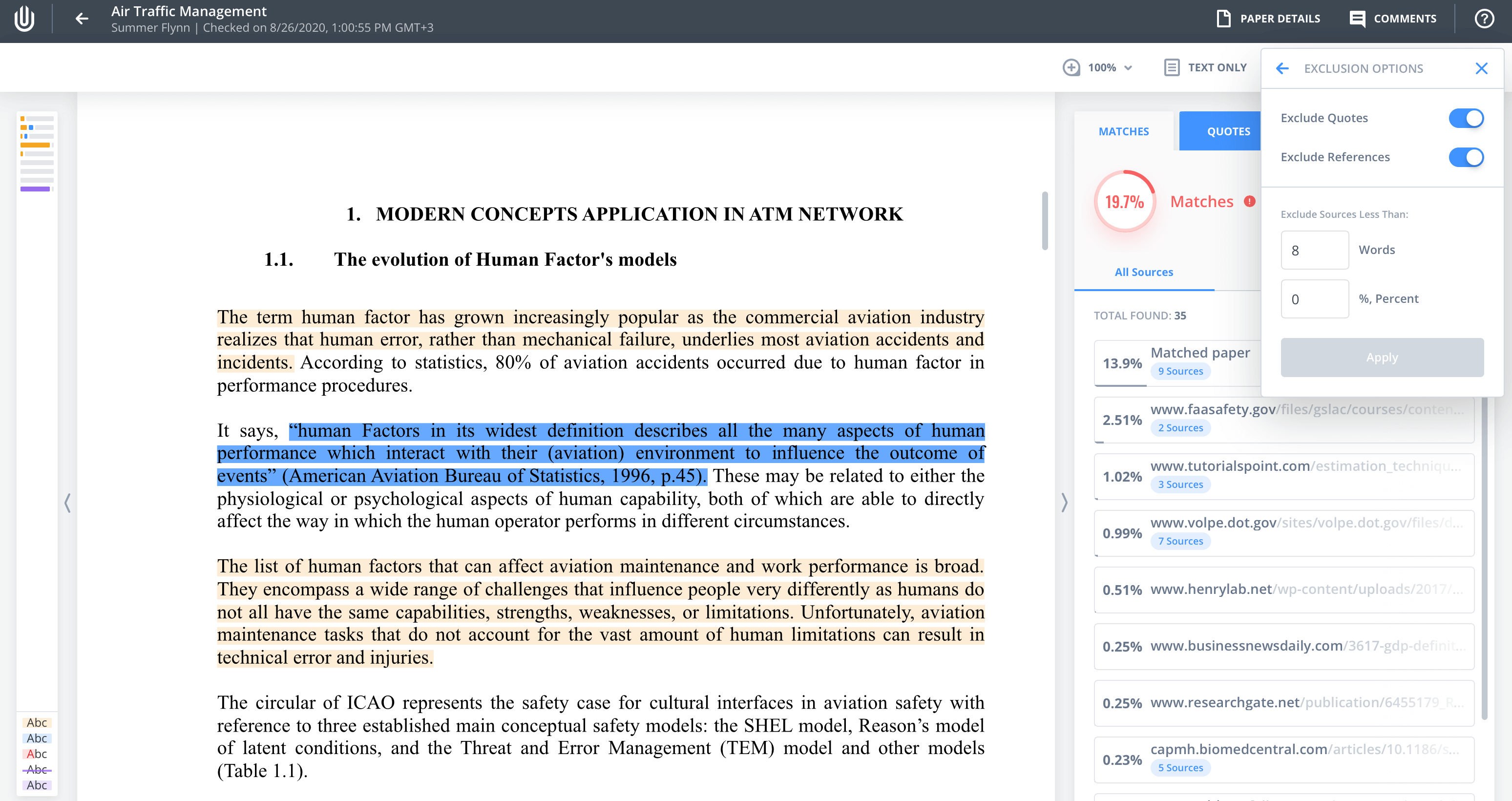 """Use the filters under the """"Exclude sources less than"""" umbrella"""