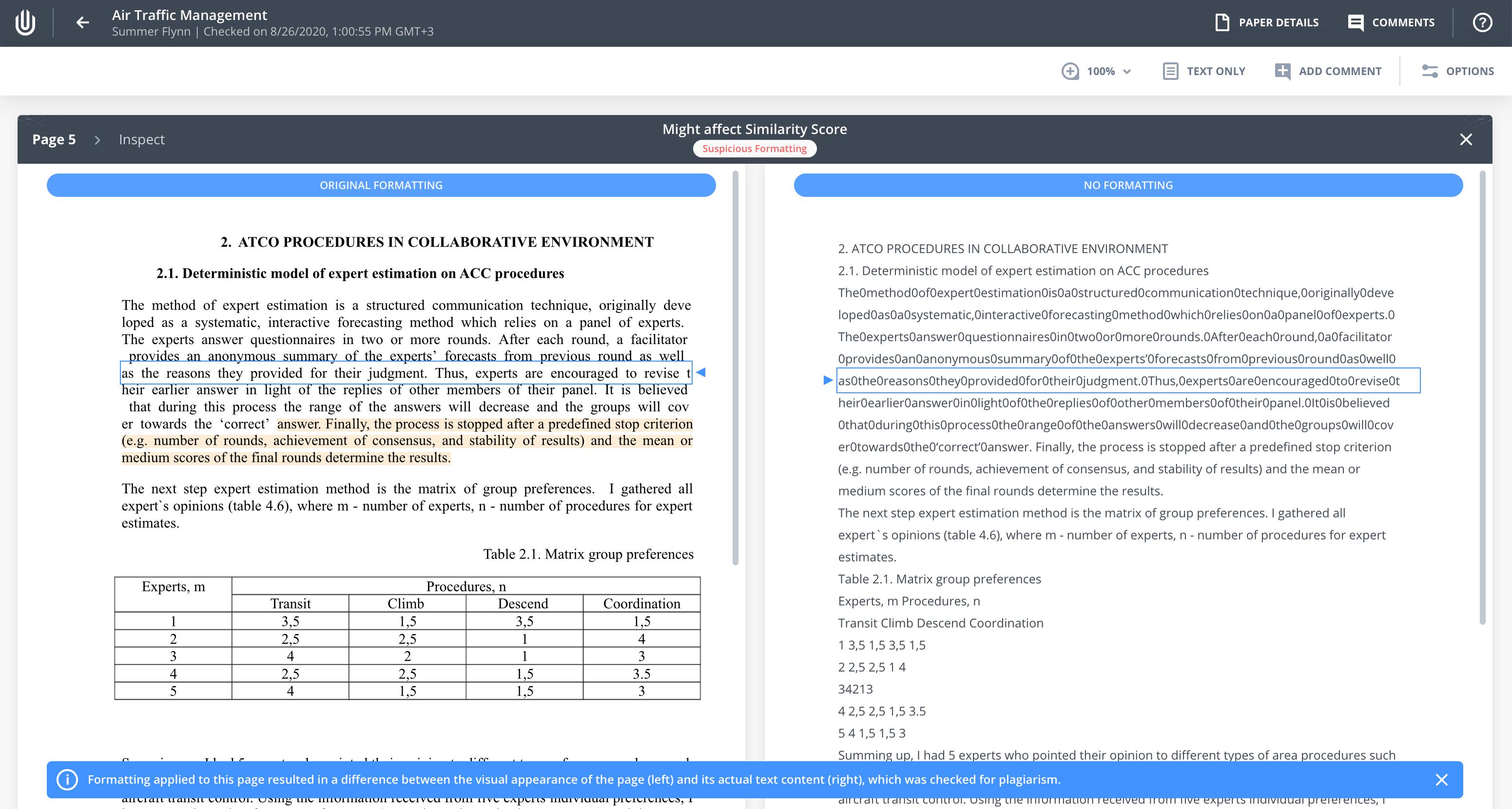 Suspicious formatting caught by Modifind, Unicheck's text modification algorithm