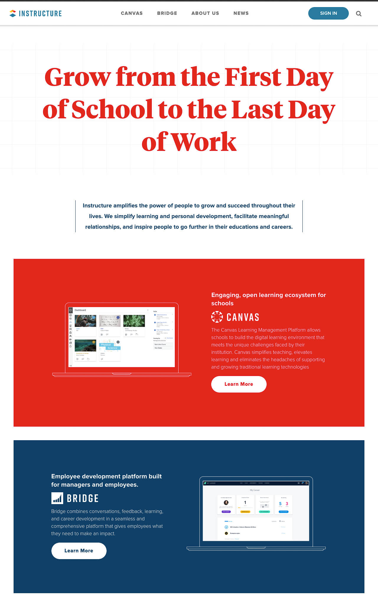 Instructure Website screen capture