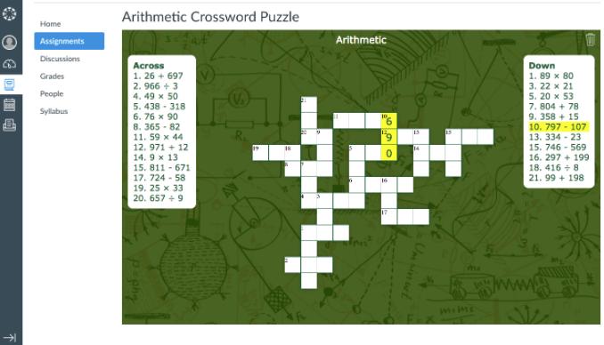 BookWidgets Crossword