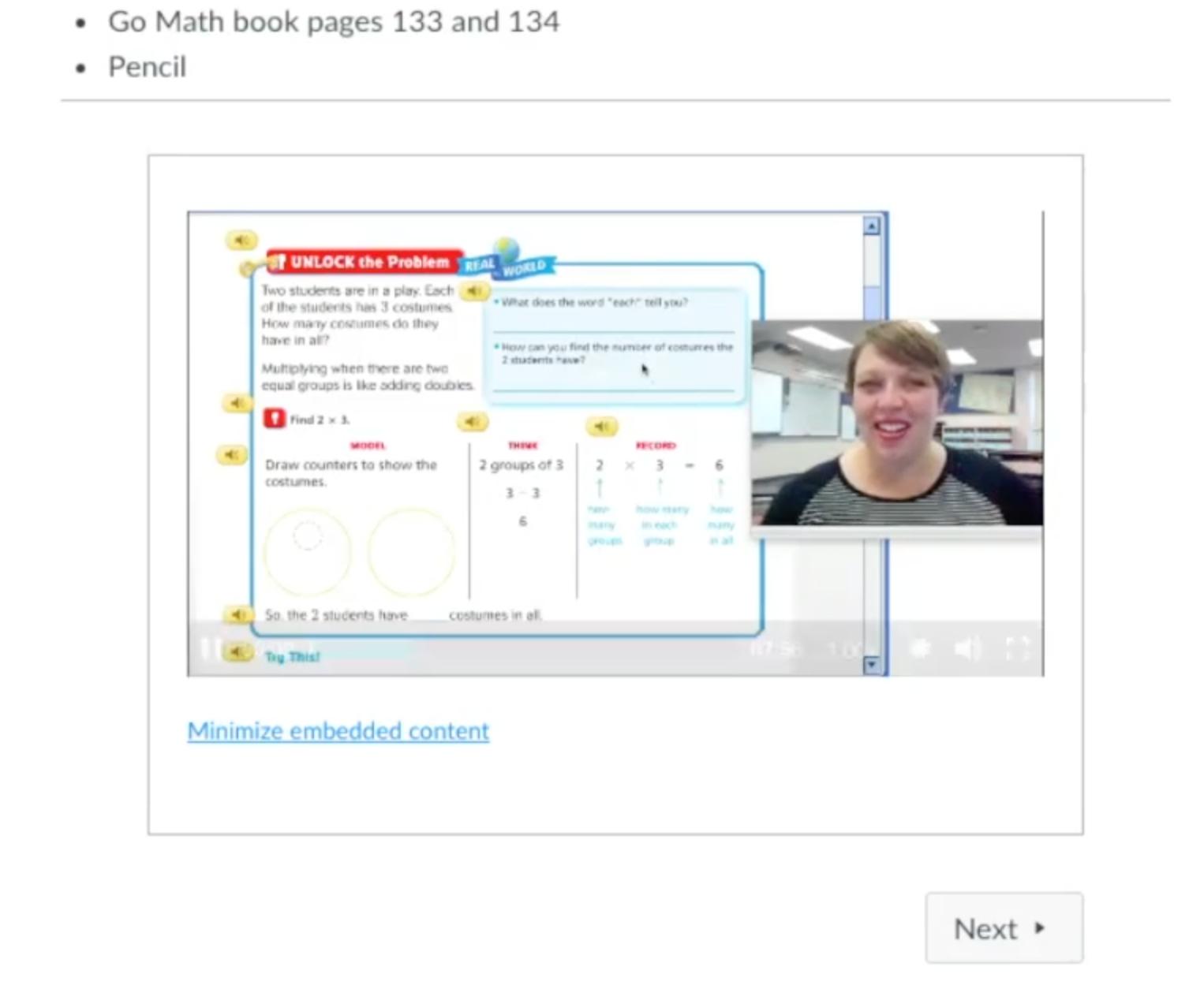 Screen shot of math teacher's Canvas lesson