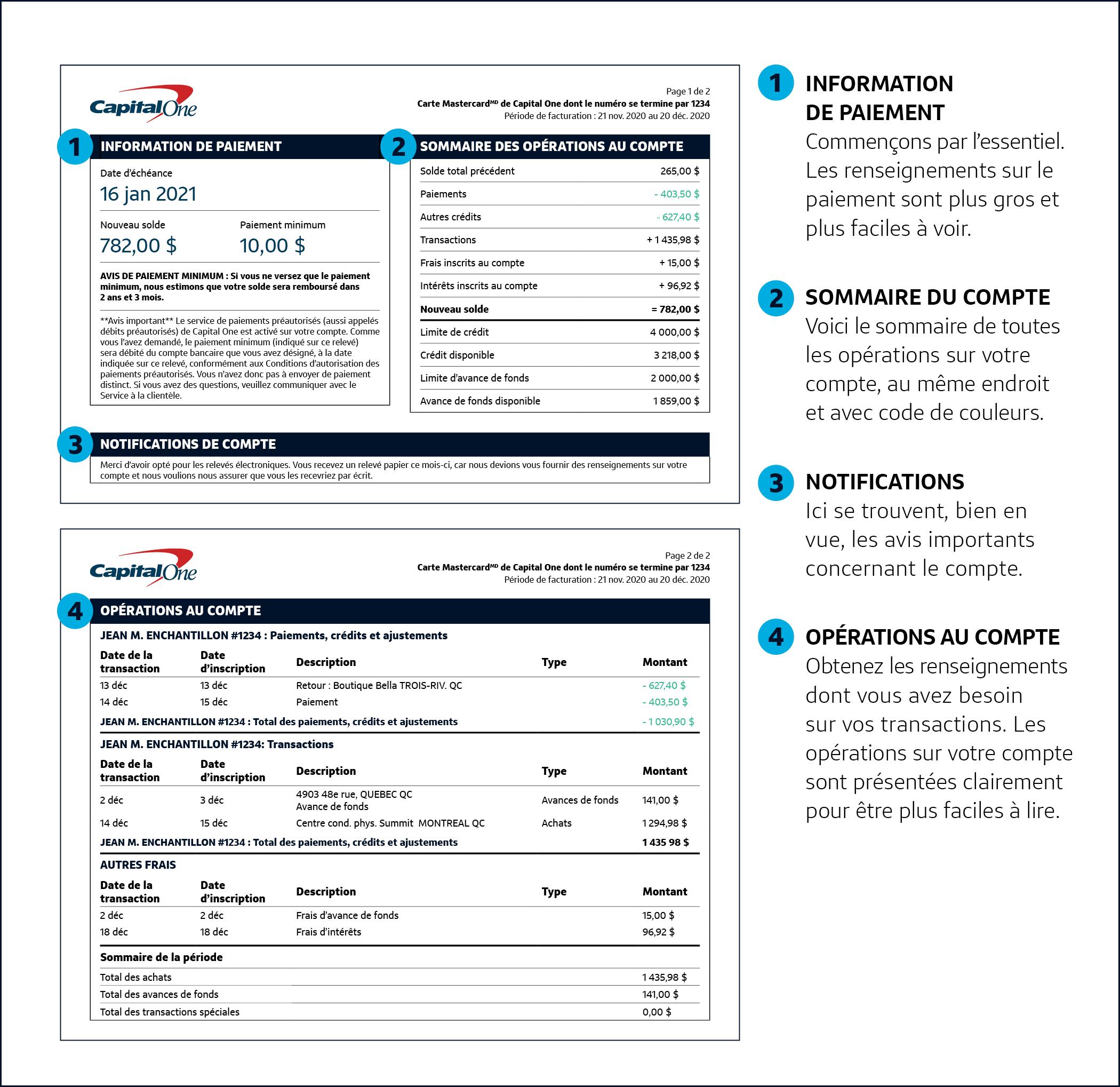 Les renseignements sur le paiement sont plus gros et plus faciles à voir. Vous trouverez un sommaire détaillé de toutes les activités du compte, avec code de couleur. Les avis concernant le compte sont bien en vue. Les opérations sur le compte sont présentées clairement pour être plus faciles à lire.