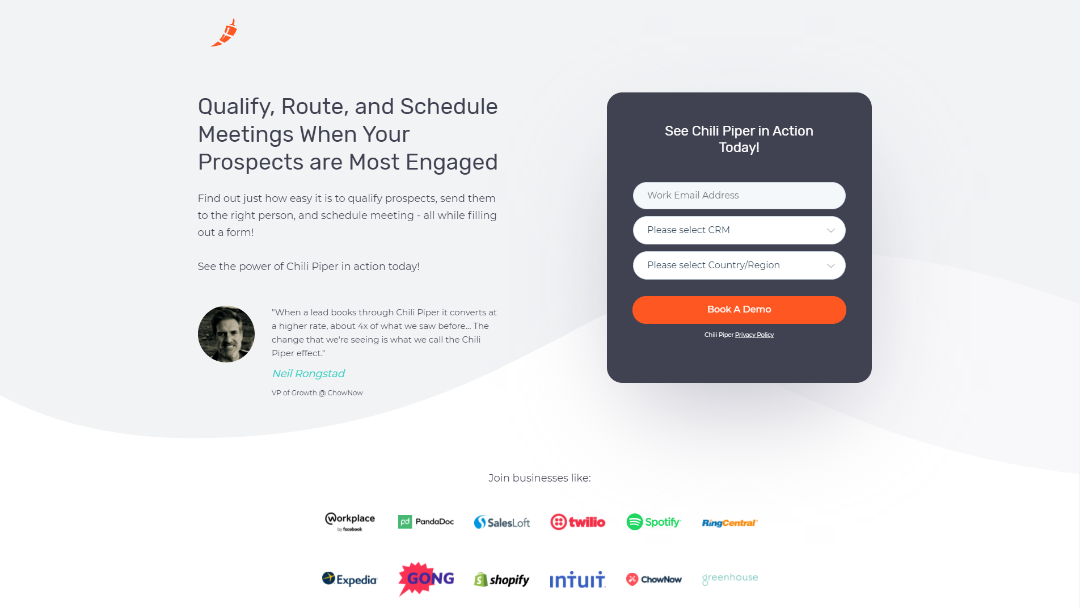 Chili Piper Lead Generation Landing Page for Concierge