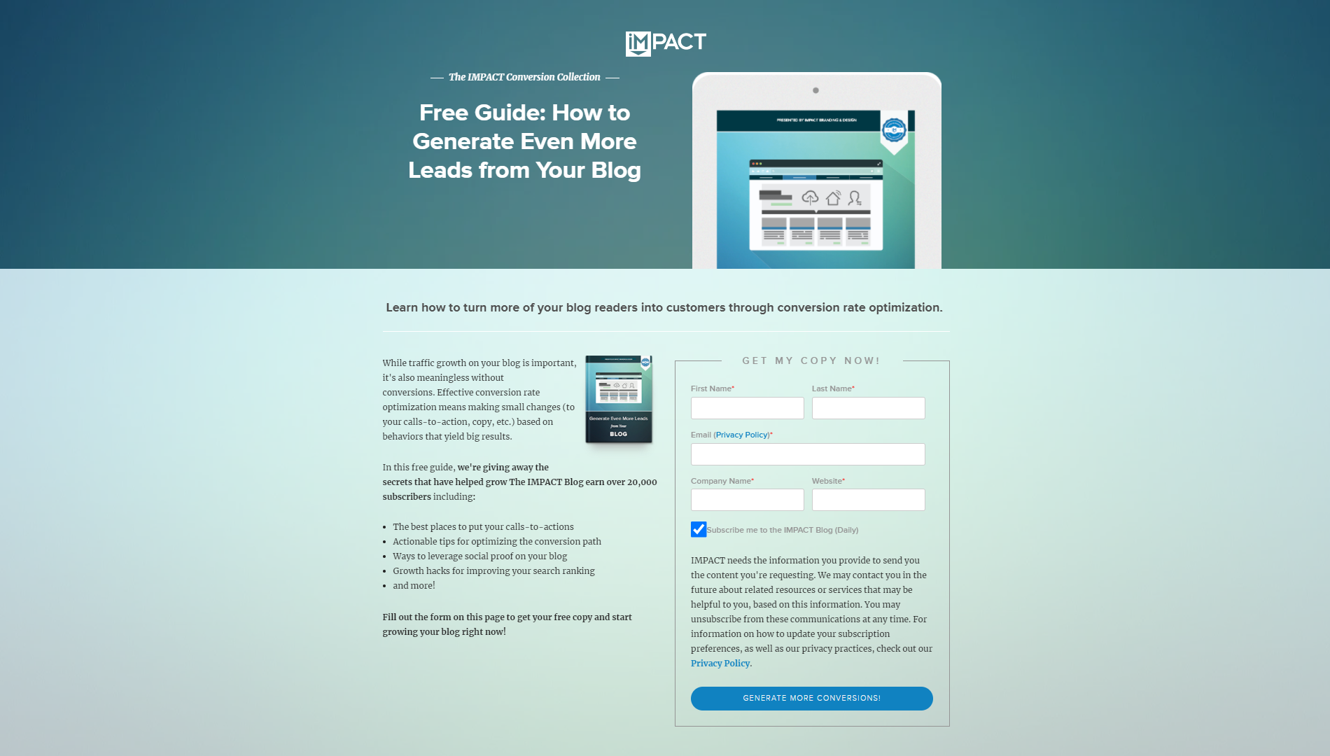 IMPACT Branding Landing Page