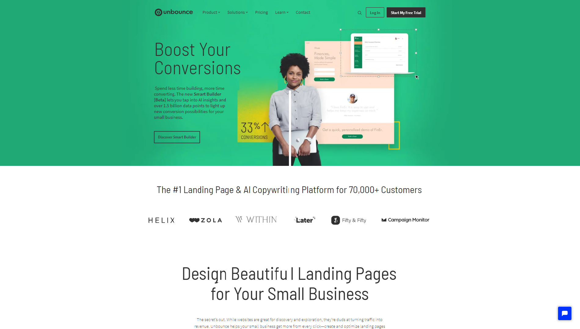 The Unbounce homepage that promotes their optimization tool and features a woman smiling about increasing her landing page conversions with the help of said tool.