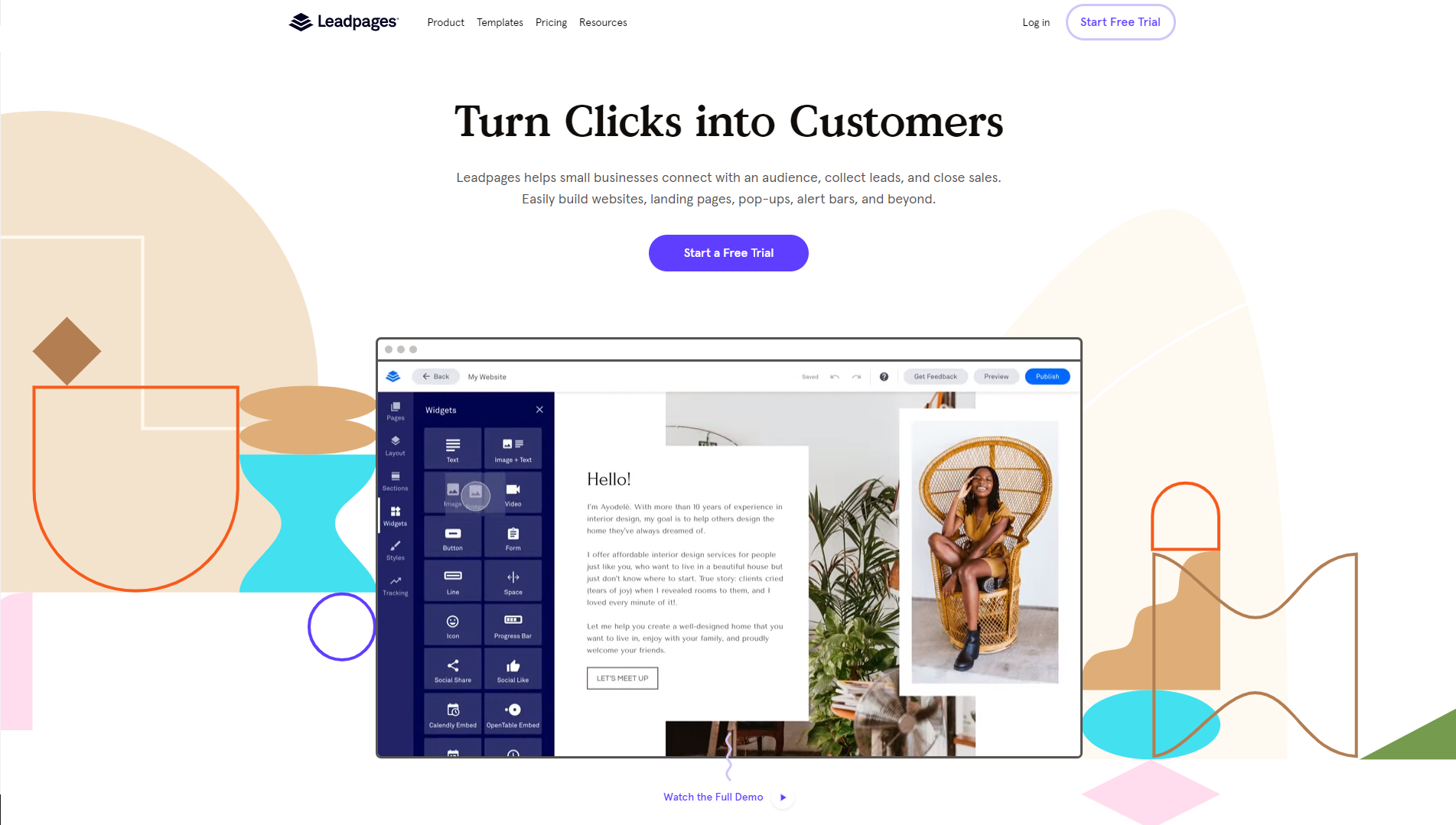The Leadpages homepage that features a gif of their landing page builder tool in action and a button to watch the full demo.