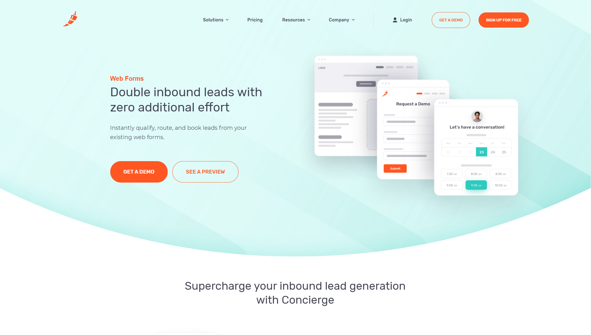 """Chili Piper's Concierge landing page with text that says """"Double inbound leads with zero additional effort"""" and """"Instantly qualify, route, and book leads from your existing web forms."""" There is a button to get a demo and a button to see a preview."""