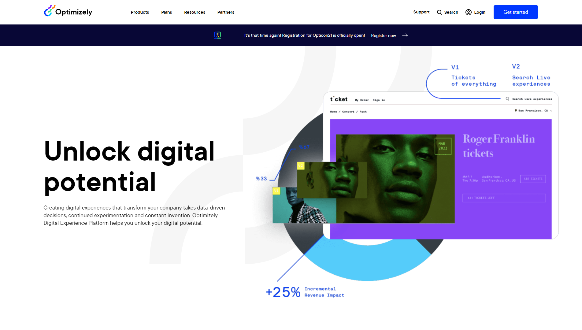 Optimizely home page with copy on unlocking digital potential and creating digital experiences with data using their platform.