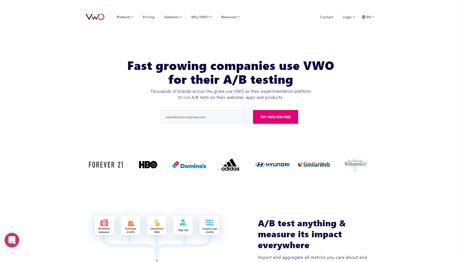 """Visual Website Optimizer (VWO) homepage with text saying """"Fast growing companies use VWO for their A/B testing."""" There's a field to input your email address to try VWO for free, logos of brands that use the product like Forever 21, HBO, and Domino's. Towards the bottom it says """"A/B test anything and measure its impact everywhere"""" beside a graphic that shows testing for browsing behavior, purchase events, sign ups, and more."""