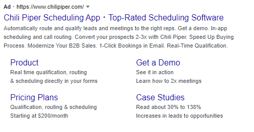 Chili Piper Ad on Google for Scheduling App search term.