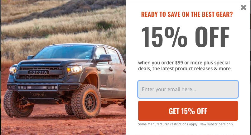 AutoAnything lead capture form that provides a 15% off coupon for the visitor's email address