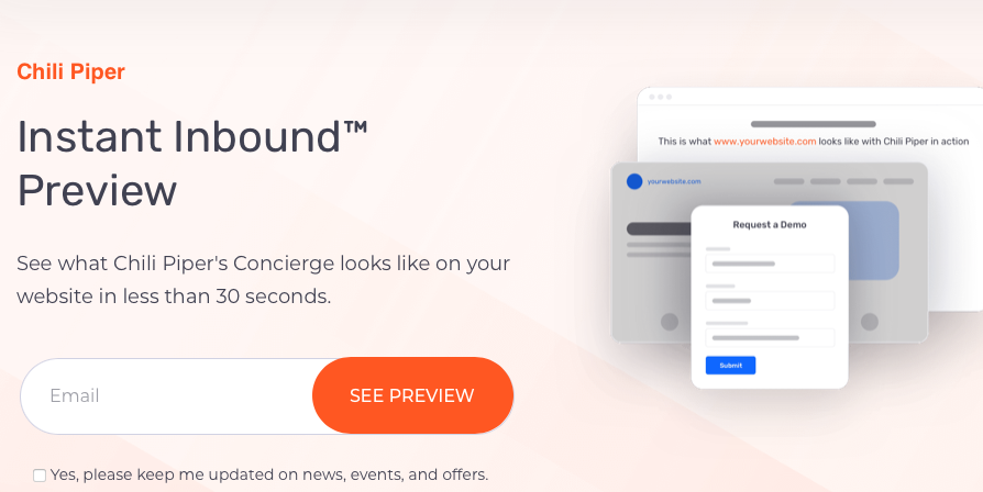 Landing page for a free demo of Chili Piper's Concierge app in exchange for your email address