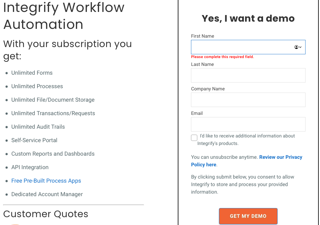 Integrify lead capture page for a free demo of their workflow automation