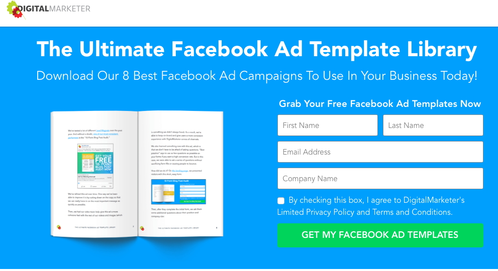 Digital Marketer lead capture page for their Facebook ad template library