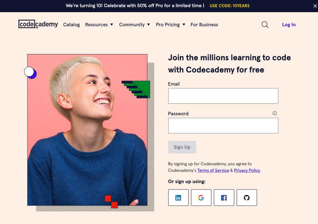 Codecademy lead capture page to sign up for free