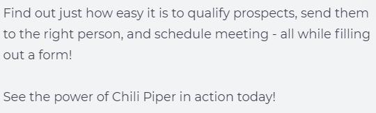 Chili Piper lead capture page body copy for Concierge