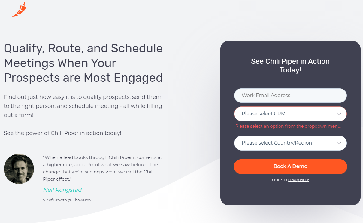 Chili Piper lead capture page for their software demo