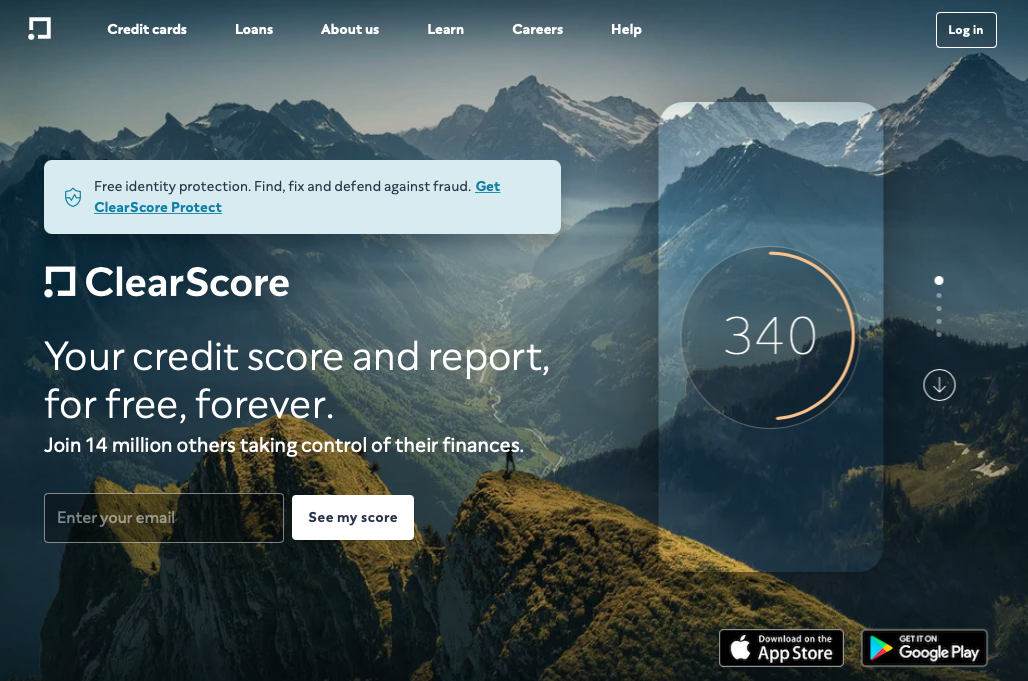 ClearScore lead capture page for free credit score and report