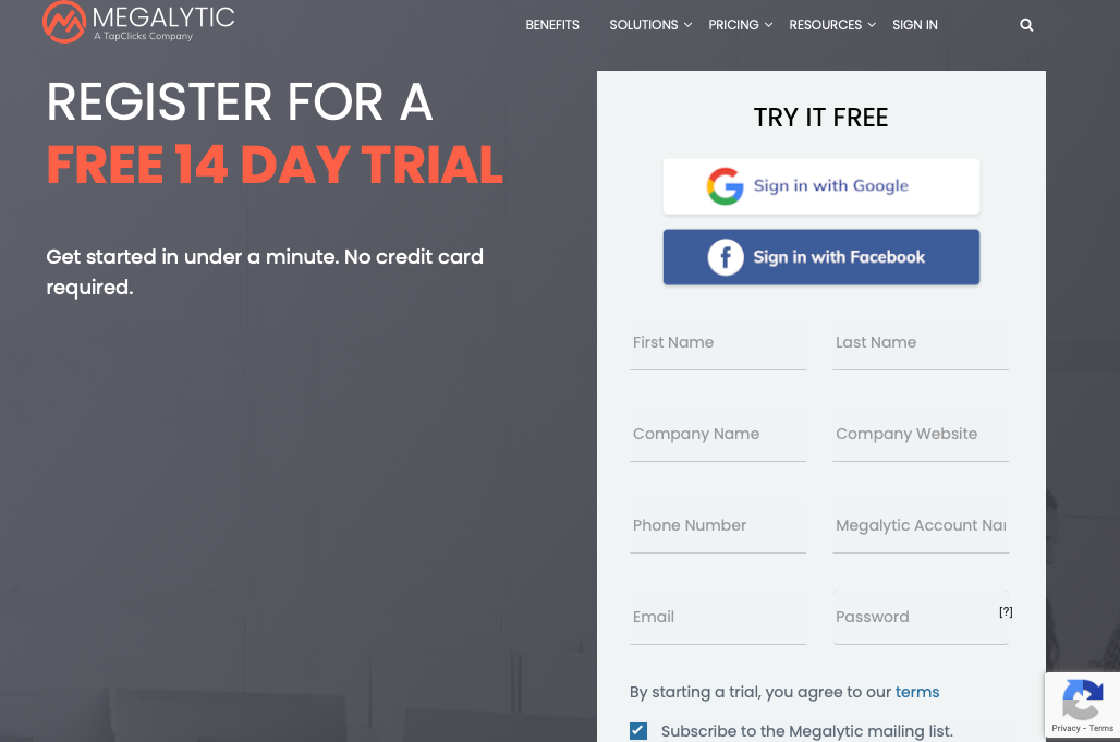 Megalytic lead capture form to register for a free 14 day trial