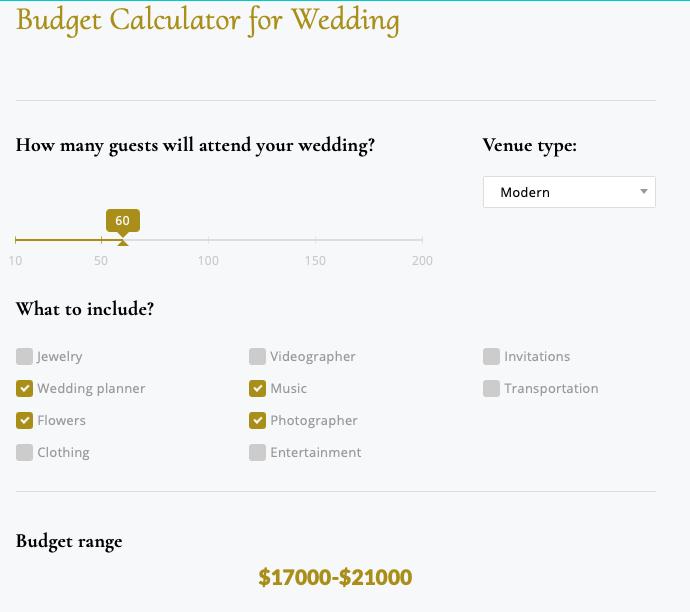 Calconic's wedding budget calculator tool