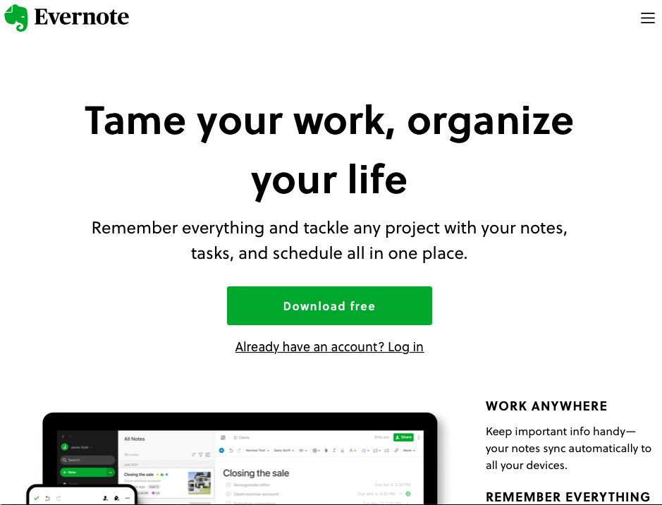 """Evernote homepage with a CTA button that says """"Download free"""""""