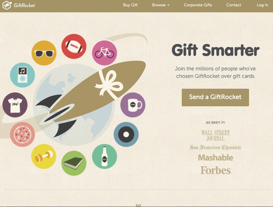 GiftRocket CTA example on homepage