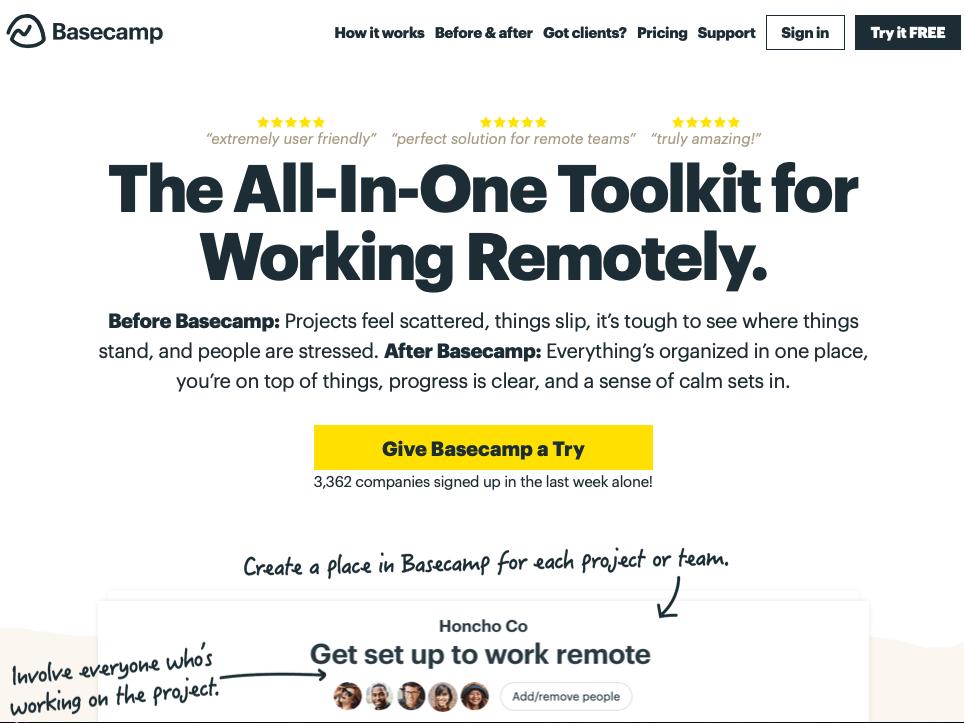 Basecamp CTA example on homepage