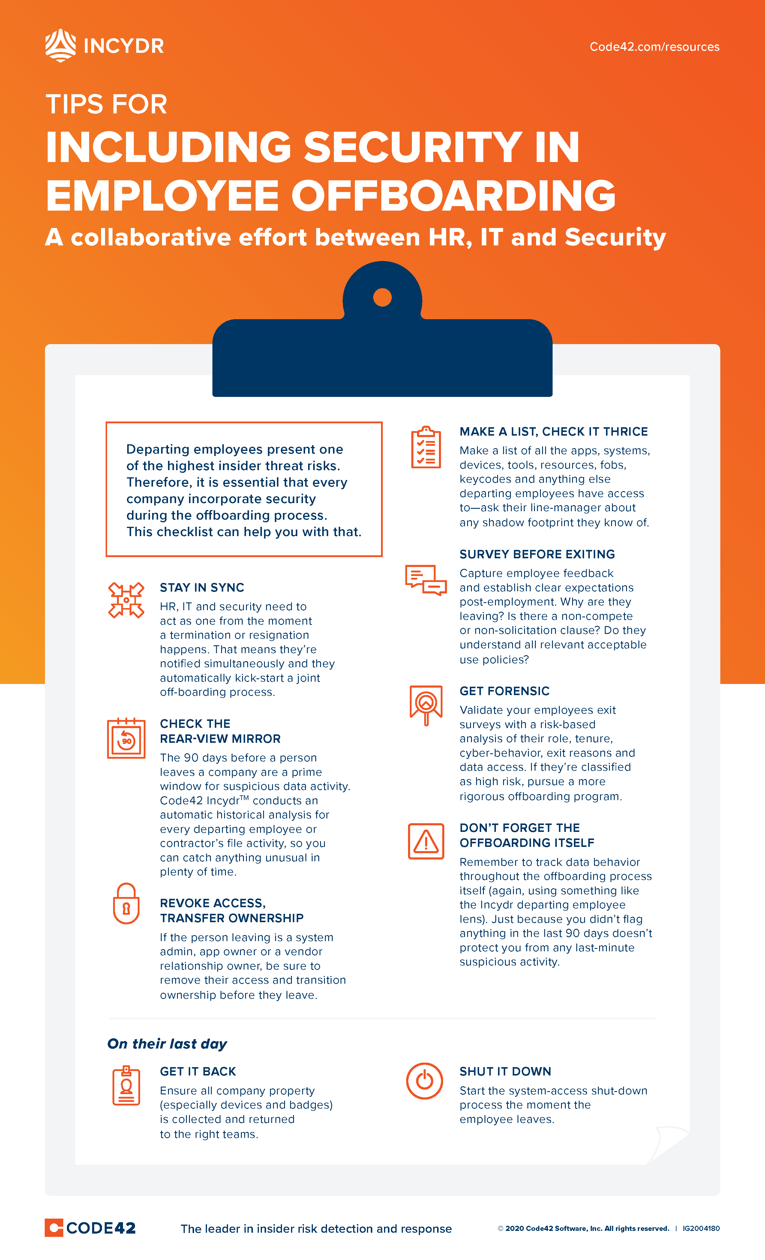 An infographic listing nine tips on how to include security in your employee offboarding process.