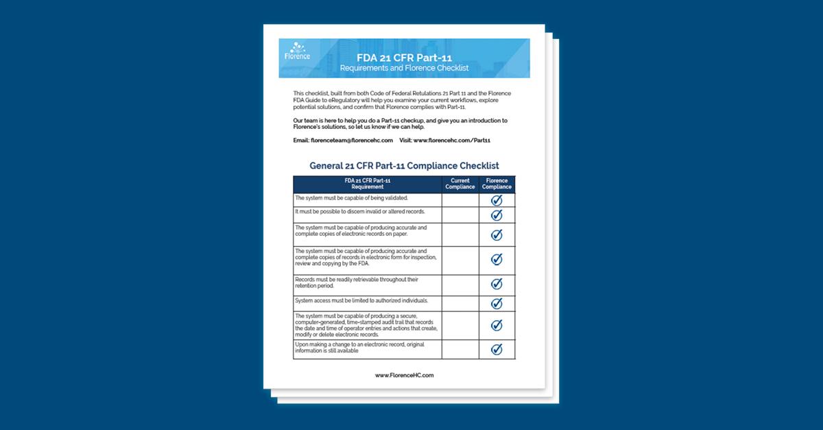 FDA 21 CFR Part-11 Compliance Checklist