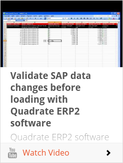 Validate SAP data changes before loading with Quadrate ERP2 software